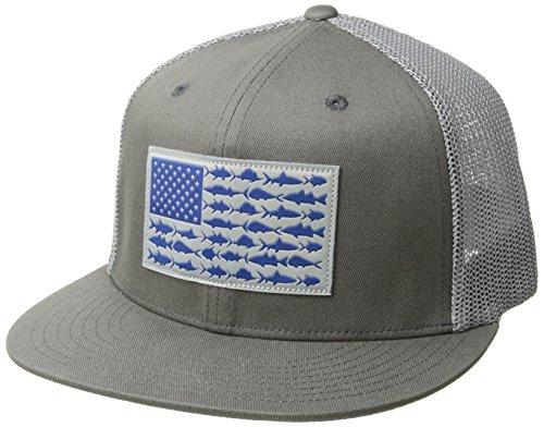 Columbia Unisex PFG Mesh Flat Brim Ball Cap, Titanium, Fish Flag, Large/X-Large