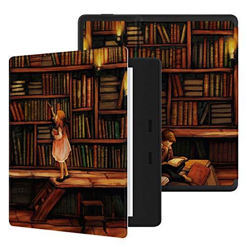 Ayotu Colorato Custodia per Kindle Oasis dispositivi di 10ª Generazione (Modello 2019) e 9ª Generazione (Modello 2017), Custodia Morbida a Nido d'Ape Impermeabile con Auto Sveglia/Sonno,La Biblioteca