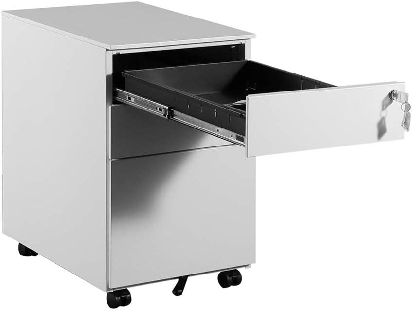 Universal-Rad-Office-Lagerschrank PUCHIKA Mobiler Wei/ß Aktenschr/änke mit 5 R/ädern 3 Schubladen in Verschiedener Gr/ö/ße Rollcontainer