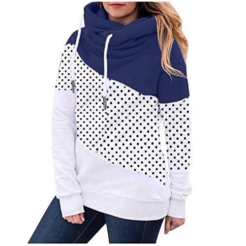 HJFR 2021 - Camiseta de manga larga para mujer, con capucha, para otoo e invierno, sudadera de manga larga para mujer, sudadera con capucha Marine38 XL