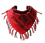100 percent Cotton Military Shemagh Arab Tactical Desert Keffiyeh Thickened Scarf Wrap for Women and Men, Red, One Size