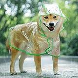 KoKoBin Cappotto Impermeabile per Cani Gatto con Cappuccio, Regolabile PVC Trasparente Poncho Impermeabile Ultraleggero, per Cani di Piccola Taglia(Verde, M)