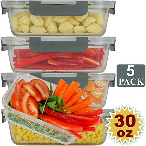 Brieftons Glass Meal Prep Containers: 5 Pack, 30 Oz with Airtight, Leakproof Snap Locking Lids, Perfect for Food Storage, Lunch & Portion Control, BPA-Free, Microwave, Oven, Freezer & Dishwasher Safe