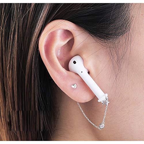 ALXDR Delicada En Forma De Corazón Pendientes De Plata 925, Clips del Oído Anti-Perdida para Auriculares Bluetooth,Plata
