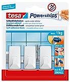 tesa Powerstrips Haken Small ECKIG - Selbstklebender Wandhaken für Glas, Kacheln, Holz, Kunststoff und andere Untergründe - Weiß