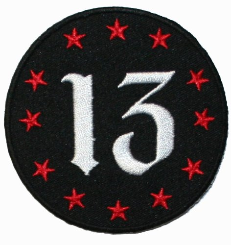 Number 13 Red Stars Badge Patch Punk Rock Tattoo Embroidered Iron On Applique