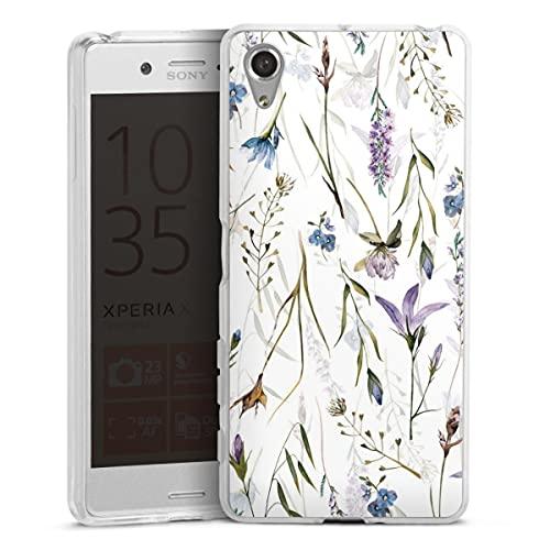 DeinDesign Silikon Hülle kompatibel mit Sony Xperia X Performance Hülle transparent Handyhülle Blumen Muster Wiese