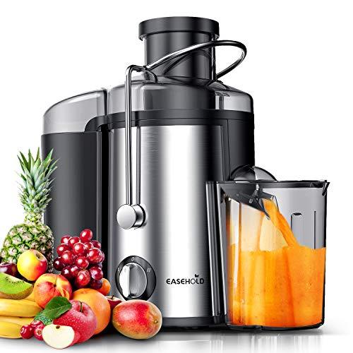 Entsafter Gemüse und Obst, Easehold 2 Geschwindigkeitsstufen Zentrifugal Entsafter, Weite Einfüllöffnung Saftpresse Juicer elektrisch, BPA-frei, Reinigungsbürste und Saftbehälter