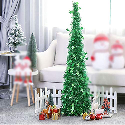 Christmas Tree Artificial Pop Up Shiny Tinsel Folding Xmas 1.2m/1.5and Gorgeous Collapsible Reflective Star Decorative Glittering For Festival Decorations Easy-Assembly Coastal Glittery ,1.2M green