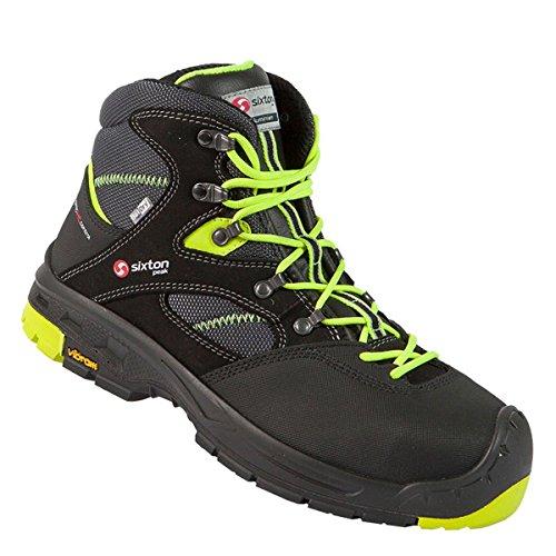 SIXTON Sicherheitsschuhe Ortisei Mid S3, Schuhgröße:43 (UK 8.5), Farbe:schwarz/grün