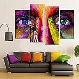KOPASD Art Impresión Lienzo,Tamaño Grande, Cara de Graffiti -160x100cm Diseño Profesiona/4pcs(Sin Marco)