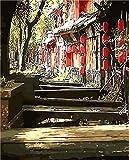 Ombre Échelle Sous Arbre Chinois Ville Paysage Numérique Peinture À L'huile Diy Salon Décoration Mur Art Toile Peinture À L'huile Affiche