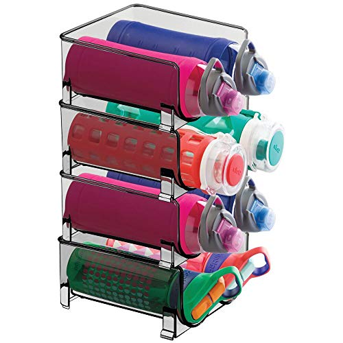 mDesign Plastic Freestanding Water Bottle Storage Organizer for Kitchen