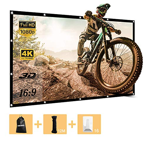 84 inch Projector Screen Portable Screen for Outdoor Indoor Cinema Christmas Film Games Party 4K Full HD Wrinkles Free 16 9 Projection Screen with 12M Ropes,16PCS Adhesive Hooks and Bag