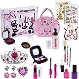 DWcouple Kit de Maquillaje Niñas, 18 PCS Set de Maquillaje con Bolso de Cosméticos,Lápiz Labial,Cepillo, Sombras de Ojos,Pegatina, Corona,Regalos de Juguete para Cumpleaños Navidad