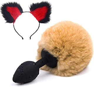 Cos- Brown FluffyB-üttP-l-ǔ-gRabbit Tail Plush- and Multicolor Cat Ears Anime Set for Women Glamour Female Masquerade Props 2pcs Set Massage Cosplay Props (Color : Black+Red)