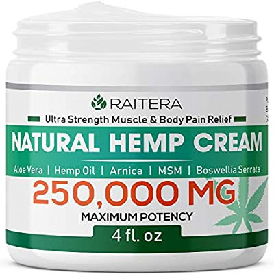 Raitera Hemp Cream for Pain Relief 250000MG, Pure Hemp Oil Extract, MSM, Arnica - Natural Ingredients - Max Strength Balm for Relief Arthritis, Carpal Tunnel, Back, Joint, Nerve, Fibromyalgia from Raitera
