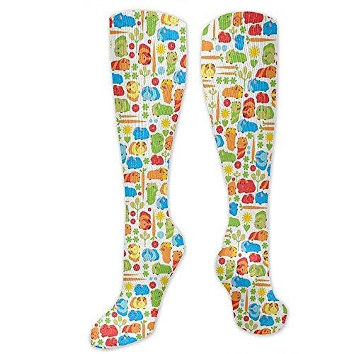 Niet toepasbare compressiesokken, cavia's, groenten, modieus, sportief dijbeen, hoge kousen, sokken, sport, compressie casual, sport, crew, tube, sokken, 50 cm