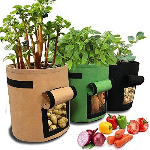 JanTeelGO kartoffelpflanzsack, Pflanztasche, Pflanze Wachsende Tasche, Grow Bag Garten Übertopf Vliesstoff Pflanzsack mit Griffe für Kartoffeln, Tomaten (7 Gallonen, Grün Braun Schwarz)