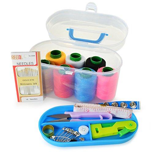 45-delige naaiset met praktische draaggreep, naaikastje, doos met 7 verschillende Kleuren naaigaren, naaispullen, naaien, merk Ganzoo