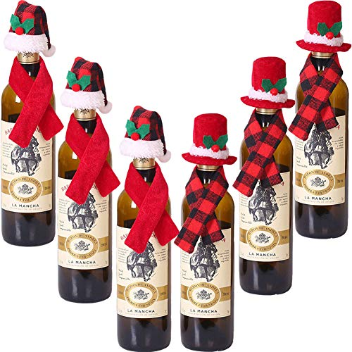 timecity Christmas Wine Bottle Cover Set 12PCS Mini Christmas Santa Claus Hat and Mini Christmas Scarf for Christmas Silverware Holders Candy Covers Wine Bottle Decorations