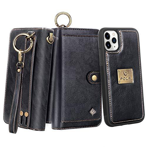 Petocase Compatible iPhone 11 Pro Wallet Case, Multi-Function Zipper Purse with Detachable Magnetic Back Cover Wristlets 13 Card Slots & 4 Cash Pocket for Apple iPhone 11 Pro 5.8 Inch 2019 Black