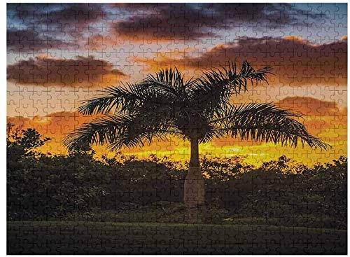 Puzzles de 1000 Piezas para Adultos   Puzzles de Palmeras para niños de 3 a 5 años con Silueta de Palmera en THR Sunset Twilight Tranquility in Nature Image, Naranja Verde