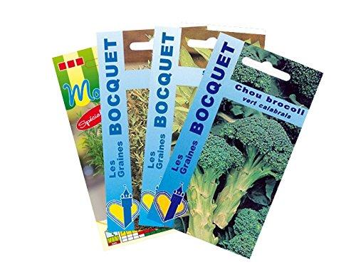 Lot de 4 sachets de Chou Brocoli et Plantes Aromatiques - Graines Potagères à semer