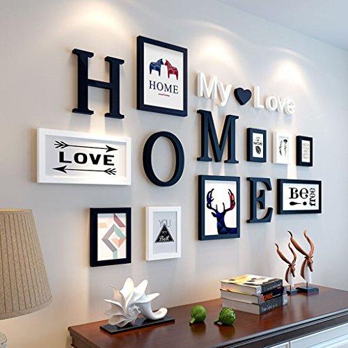 Cadre décoratif 9 PCS/Set décoration de la maison bricolage cadre photo ensembles pour mur famille cadre photo ensembles avec carte photo (Couleur : B)
