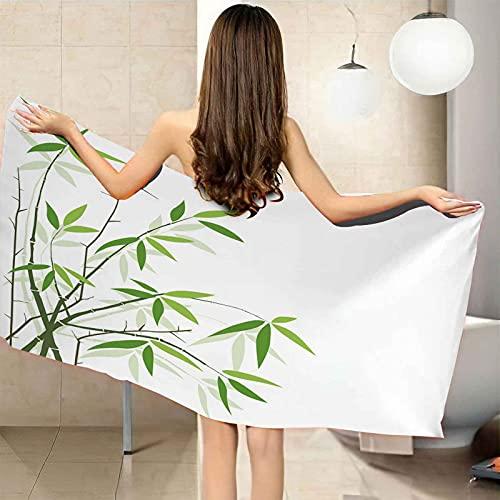 IRUAIF Toallas de Playa Antiarena de Microfibra 70x150 cm Estampado de Hojas de bambú Verde Secado Rapido Ideal para natación, Viajes, Yoga, Deportes, Camping, Tumbona, baño o Ducha en casa