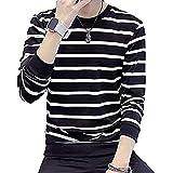[ネモフィオール] 【在庫処分】 Tシャツ カットソー トップス ラウンドネック ボーダー 長袖 メンズ uネック 厚手 ジップ ブラック, XL(日本L)