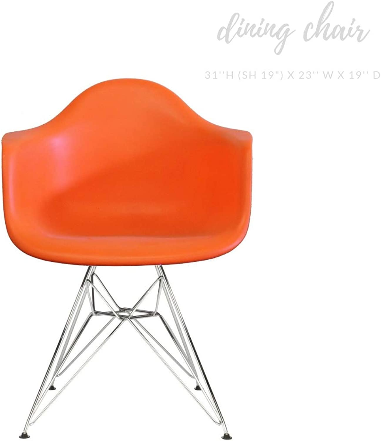 Take Me Home Furniture Eiffel Style Bucket Chair with Chrome Legs, orange, Dining Chair