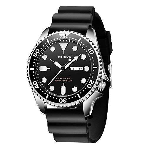 Relojes al aire libre para hombres a prueba de agua, negocios, ocio, luminoso, reloj de moda con calendario, indicador de 24 horas, reloj de pulsera de silicona, acero inoxidable, militar, de cuarzo