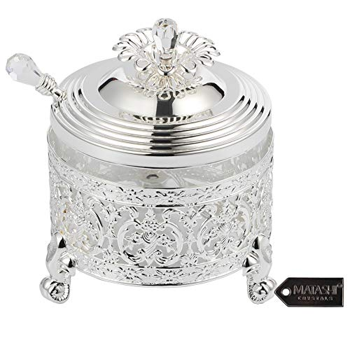 Matashi Silver Plated Sugar Bowl Honey Dish Glass Bowl - Detailed Intricate Design and Flower on Cover with Crystal Studded Spoon Great Gifts idea for Birthday, Mother's Day, Christmas, Anniversary