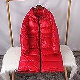HSDFKD Mujer Abrigo de Invierno Manga Larga para Acolchado Chaqueta Cuello Largo Suelto, Grande, Grande, Talla Grande, Bolsa De Pan, Rojo, M