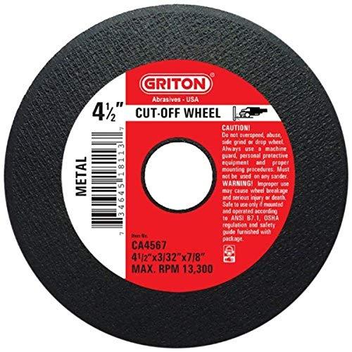 Griton CA4567 Rueda de corte industrial para metal, diámetro del agujero de 7/8 pulgadas, diámetro de 4.5 pulgadas, ancho de 3/32 pulgadas (paquete de 50)