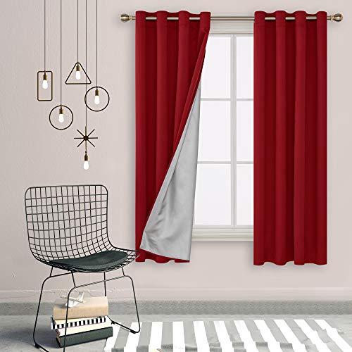 Deconovo Cortinas Salon Aislantes Térmicas Color Liso Oxford Capa de Plata, 100% Poliéster, Rojo, 135 x 240 cm