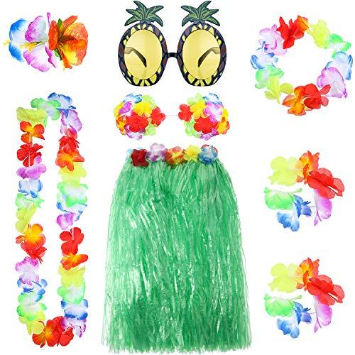 8 Pieces Hawaiian Hula Grass Skirt Set with Necklace Bracelets Headband Flower Bikini Top Hair Clip  - http://coolthings.us