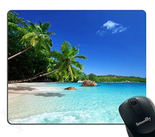 Smooffly Tropical Paradise Sunshine Beach Coast Sea Palm Trees Mousepad,Custom Rectangular Mouse Pad