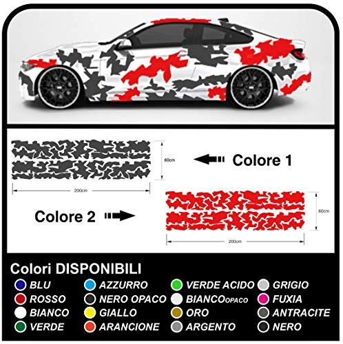 Camouflage Camouflage Auto Seite Aufkleber Grafik Kit Rennwagen Rennen US Amry Militär Auto Dekoration Aufkleber Aufkleber Tuning (ANTHRAZIT UND ROT (WIE AUF DEM Bild))