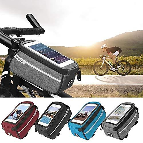 WasaFire Support Vélo Téléphone Etanche, Support Smartphone Universel Sacoche Vélo pour Guidon de Vélo VTT Moto Scooter avec Housse Transparante Ecran Tactile pour Smartphone sous 6 Pouces (Gris)