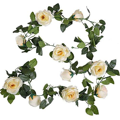 Amkun, ghirlanda vintage artificiale con fiori di rosa e foglie in finta seta, edera da appendere per decorazioni di interni, abitazioni, matrimoni, 1 pezzo Champagne