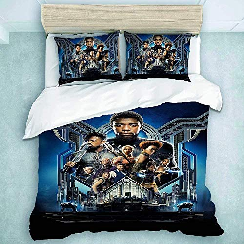 POMJK Black Panther Bed Linen Set Duvet Cover Pillow Case 100% Microfibre Super Soft Children's Bed Linen (Black Panther 1, 200 x 200 cm + 50 x 75 cm x 2)