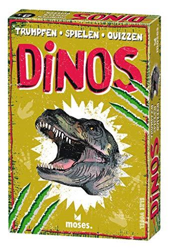 Moses 90280 Trumpfen Spielen Quizzen Dinos | Kartenspiel für Kinder ab 8 Jahren | Dinosaurier