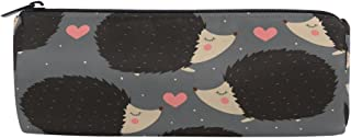 ALAZA Hedgehog Love Heart Cylinder Pencil Case Holder Zipper Large Capacity Pen Bag Pouch Students Stationery Cosmetic Makeup Bag