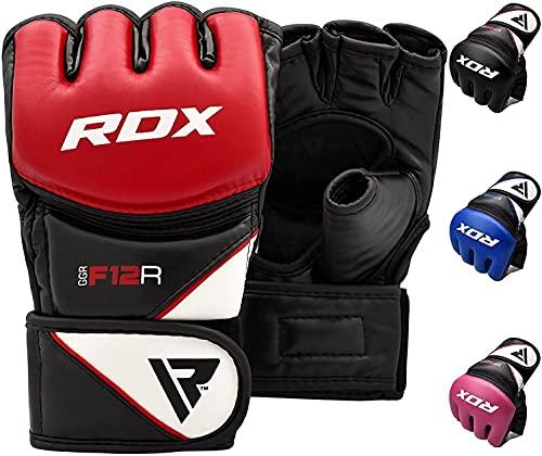 RDX Guantes MMA Artes Marciales Entrenamiento, Maya Hide Cuero Grappling Guantillas, Professional Abierto Palma Gloves, Sparring Kickboxing Muay Thai Saco de Boxeo Lucha Libre Combate, Hombre Mujere