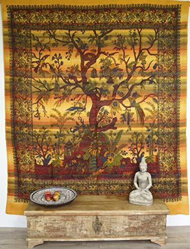 Guru-Shop Colgante de Pared, Colcha Árbol de la Vida - Amarillo, Algodón, 250x210 cm, Colchas de Mandala Toallas de Pared