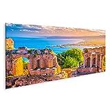 bilderfelix® Bild auf Leinwand Die Ruinen des Taormina