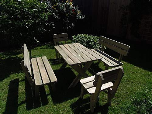 PLATAN ROOM Gartenmöbel aus Kiefernholz 120 cm / 150 cm / 170 cm breit Gartenbank Gartentisch Kiefer Holz massiv Imprägniert (Set 2 (Tisch + 2 Bänke + 2 Stühle), 170 cm) - 7