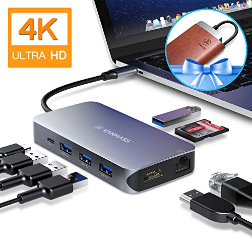 VANMASS USB C Hub 9 in 1, Aluminium USB C Adapter mit 9 VR Chips, 4K HDMI Port, 4 USB 3.0 Port, SD/TF Katenleser, RJ45 Ethernet, 90W PD Charge Port für MacBook Pro/Air, Samsung und mehr USB C Geräte